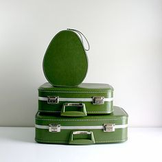 Green Nesting Luggage Set...mom and dad had (have) these. I remember fighting them for space in the station wagon