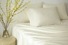 Add satin soft organic cotton sateen sheets to upgrade any mattress. Dorm Life, Cotton Sheet Sets, Flat Sheets, Linen Bedding, Dorm Room, Organic Cotton, Bedroom, Home, Dorm Rooms