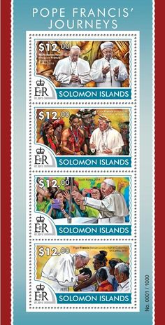 Post stamp Solomon Islands SLM 15312 aPope Francis' journeys (Mufti Rahmi Yaran and pope Francis praying in Turkey, 2014, Pope Francis with native Brazilians, Rio de Janeiro, 2013, South Korea, 2014, Pope Francis blesses a sick child in Colombo, Sri Lanka, 2015)