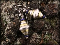earrings with silver, brass and lazuli