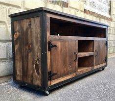 Rustic Industrial barn board entertainment center TV stand Reclaimed Wood (Walnut) - Muebles hierro y madera Industrial Tv Stand, Design Industrial, Industrial Furniture, Rustic Furniture, Industrial Metal, Man Cave Furniture, Primitive Furniture, Table Furniture, Luxury Furniture
