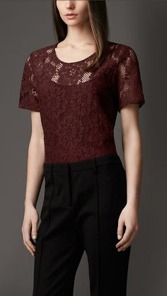 Burberry London Woven Lace Cotton Top