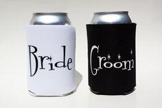 Bride and Groom Koozie Set Koozie Cooler Engagement by BeBopProps, $10.00 https://www.etsy.com/listing/184873584/bride-and-groom-koozie-set-koozie-cooler?