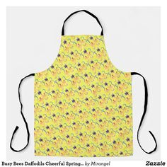 Busy Bees Daffodils Cheerful Spring Pattern Apron Busy Bee, Summer Bbq, Daffodils, Bees, Keep It Cleaner, Apron, Cool Designs, Arts And Crafts, Prints