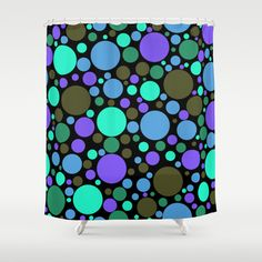 Dottiness Shower Curtain - $68.00.   Made from 100% easy care polyester #showercurtain #bathroom #blue #dots #circles #pattern #homedecor