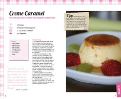 4 sections and photo on same page Creme Caramel, Recipe Book Design, Food Tech, High Tea, Editorial Design, Afternoon Tea, Tea Pots, Oatmeal, Fruit