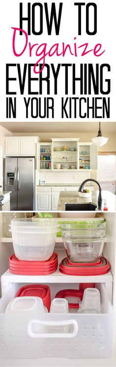 Tips and Tricks for an Organized Kitchen - Ideas for organizing everything from plasticware to grocery store bags!