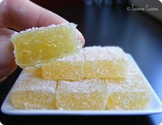 Jasmine Cuisine: Pâte de fruits au citron Desserts With Biscuits, Köstliche Desserts, Delicious Desserts, Dessert Recipes, Homemade Sweets, Arabic Food, Confectionery, Chocolates, The Best