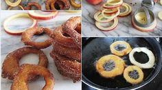 LES RONDELLES DE POMME À LA CANNELLE! Beignets, Onion Rings, Churros, Dessert Recipes, Desserts, Pop Tarts, Doughnut, Brunch, Appetizers