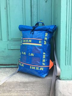 A Roll-Top Backpack from IKEA Blue Bags Backpack Hacks 244fe78bb4c5