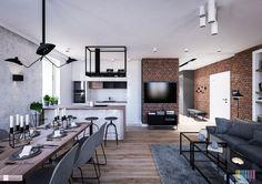 Wnętrze jednego z Warszawskich mieszkań zaprojektowaliśmy w stylu nowoczesnym z elementami stylu industrialnego.