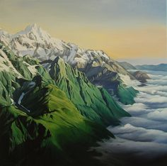 Adele Souster Nz Art, Mountain High, Adele, Landscape Paintings, Mountains, Artist, Artwork, Travel, Projects