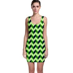 Green+Modern+Retro+Chevron+Patchwork+Pattern+Bodycon+Dress