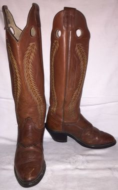 "Vintage Mens Size 9 D OLATHE 82484 Cowboy Western Buckaroo 20"" Tall USA Boots #Olathe #CowboyWestern"