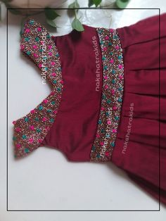 Beautiful Maroon cotta silk handwork frock tgives you an elegant. Baby Frocks Style, Baby Girl Frocks, Frocks For Girls, Dresses Kids Girl, Kids Outfits Girls, Baby Frock Pattern, Frock Patterns, Baby Girl Dress Patterns, Kids Frocks Design