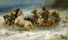 Artist : Adolf Schreyer (German , 1828 - 1899)  Title : The Pursuit .Verfolgt. Date : ? Medium : oil on canvasDumitru Coțe - Google+