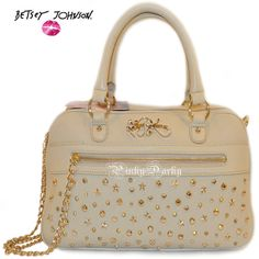 $301+2012 NEW BETSEY JOHNSON LEATHER MEDIUM IVORY CELEBRITY SATCHEL BAG-LAST ONE