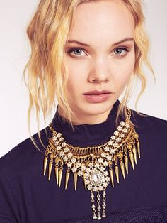 Dahlia Gold Diamante Flower Embellished Spikey Layered Necklace | Dahlia Layered Necklace, Dahlia, Layers, Flower, Gold, Accessories, Jewelry, Fashion, Layering