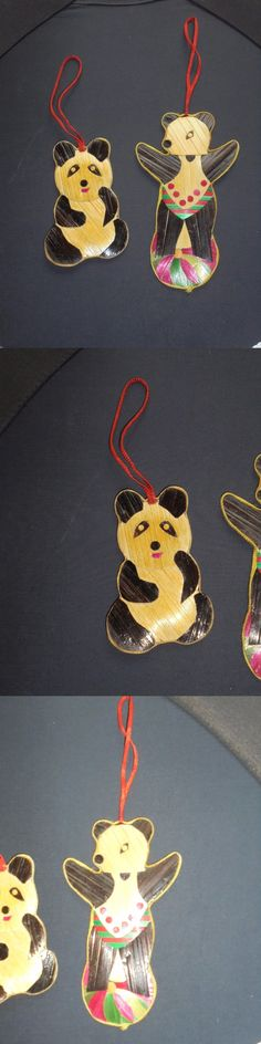 Christmas Decorations: Set Of 2 Japanese Bamboo Christmas Ornaments Panda Bears Holiday Decor -> BUY IT NOW ONLY: $9.99 on eBay!