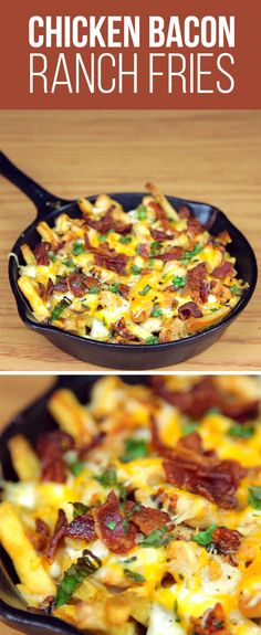 Spread fries evenly on baking sheet, season with salt, and bake at 425 F for 20 minutes. Cook garlic, add chicken, then parsley, and season with salt & pepper to taste. In a skillet, lay down fries, followed by 1/2 cup mozzarella, ranch dressing, the cooked chicken, the other 1/2 cup mozzarella, bacon, and green onion.Bake at 350 F for 15 minutes until cheese is melted and bubbly.