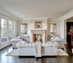 Transitional style white living room decor with modern chesterfield sofa and chairs Classic Living Room, Elegant Living Room, Beautiful Living Rooms, Living Room Grey, Formal Living Rooms, Home Living Room, Living Room Designs, Living Room Decor, Modern Living