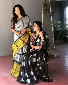 Looking for designer silk and other party wear sarees? Check out this brand for awesome collections. Designer Sarees Collection, Latest Designer Sarees, Saree Collection, Shibori Sarees, Silk Sarees, Saris, Kalamkari Saree, Kanjivaram Sarees, Chiffon Saree