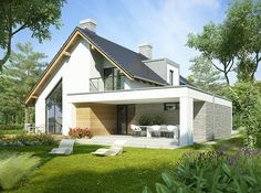 Photo of the project Aristotle – House Design Modern Bungalow Exterior, Modern Bungalow House, Dream House Exterior, Modern House Design, Modern Craftsman, Craftsman Houses, Rural House, Villa Design, Facade House