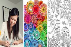 """Johanna Basford's first adult coloring book, Secret Garden, was translated into 14 languages, outselling the most popular cookbook in Paris. """"I think everyone has a creative spark; they just need t..."""