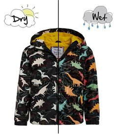 a6dfcd1f87 Holly   Beau Little Big Boys 2 8 Color-Changing Dino Print Raincoat
