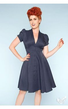 Executed with the sophistication of old New York, look your finest in this Manhattan dress! This American-made number features a pleated collar, empire waist with curve enhancing princess seams, a box pleated skirt, covered buttons down the front and on 1940s Fashion Dresses, 1940s Outfits, Vintage Style Dresses, Lovely Dresses, 1950s Fashion, Vintage Fashion, Fashion Outfits, Women's Fashion, Pinup Girl Clothing