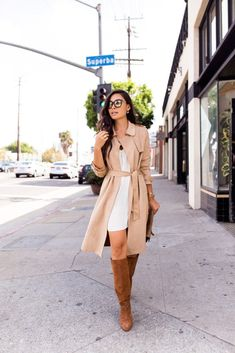 OCTOBER 19, 2017 Suede Trench Coat for Fall - Zara trench // Slipdress Sergio Rossi boots // YSL clutch MAC ligploss // Vintage sunnies #sergiorossi2017