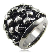 316L Stainless Steel Biker Skull Ring For Men New 2015 Fashion Men's Jewelry(China (Mainland))