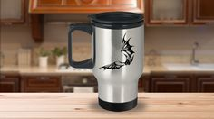 * JUST RELEASED *Creepy Evil Flying Bat Black Travel Mug For Animal Lovers Print on Both Sides This holds 14 oz worth of liquid and comes with an easy-grip handle and thumb rest. The tapered bottom fits in a standard cup holder. Lid has slide opening and slanted drinking surface. Made out of stainless steel for durability. Since it's made out of stainless steel it is not microwave safe. Thick DOUBLE WALL helps keep hot drinks hot and cold drink...