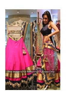 Lt Fab Graceful Pink Raw Silk Semi Stitched Lehenga Choli