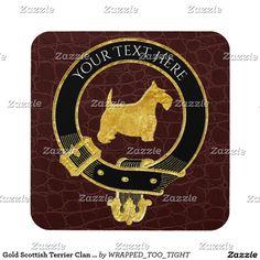 Gold Scottish Terrier Clan Crest Leather Drink Coaster