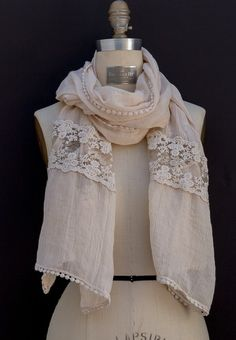 Tan Soft Womens Scarf With Lace Inlay And Edging  34.00  www.jacketsociety.com shop  7f428e224af