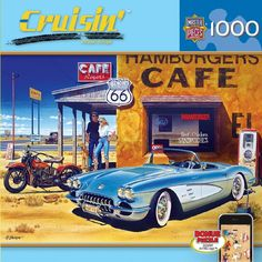 MasterPieces Cruisin Route 66 Cafe Jigsaw Puzzle for sale online Old Route 66, Pompe A Essence, Posters Vintage, E Motor, Arizona, Automotive Art, Fun Challenges, The Good Old Days, Gas Station