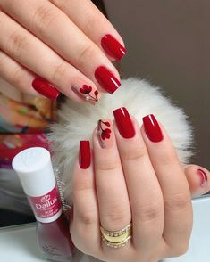 36 Gorgeous Red Nail Art Designs Just For You Nail Polish, Shellac Nails, Nail Nail, Red Nail Art, Red Nails, Elegant Nails, Stylish Nails, Acrylic Nail Designs, Nail Art Designs