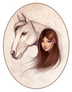 Beautiful Girl illustration. Flower and Horse / Bella illustrazione di Ragazza. Cavallo e fiore - Artwork by Gabrielle (Art by gabbyd70 on deviantART)