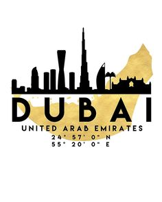DUBAI UNITED ARAB EMIRATES SILHOUETTE SKYLINE MAP ART -  The beautiful silhouette skyline of Dubai and the great map of United Arab Emirates in gold, with the exact coordinates of Dubai make up this amazing art piece. A great gift for anybody that has love for this city.  dubai united arab emirates uae downtown silhouette skyline map coordinates souvenir gold