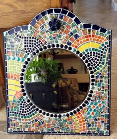 Framed Broken Dish Mosaic Wall Mirror, Cobalt Blue, Yellow, Orange, Wall Decor, Mosaics, Home Decor
