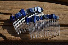 Lapis Lazuli Stone Hair Combs (set of 2)
