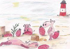 Wattschweine bei der Erdbeereierernte