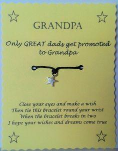 Grandpa Gift String Wish Bracelet Charm Bracelet by GemsNJewells