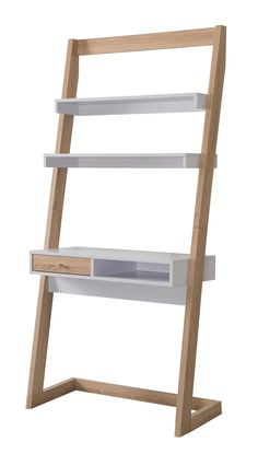 Furniture of America Amala Contemporary Two-Tone Leaning Desk, Weathered Wood and White Leaning Desk, Leaning Ladder, Ladder Desk, Ladder Bookcase, Wall Desk, Desk Shelves, White Shelves, Wood Writing Desk, Space Saving Furniture