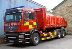 West Yorkshire Fire & Rescue: Module 5 - has a flat bed unit containing 10 tonnes of pre-cut timber for shoring and cribbing unstable structures.