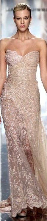 Nude Lace Beaded Strapless Gown at the Jack Guisso Fashion Runway Show ...LOVE LOVE LOVE ..... -Rich Beverly Hills Fashion Kid ;)