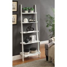 Convenience Concepts French Country Wood/Veneer Bookshelf Ladder