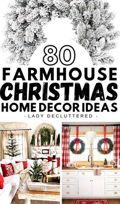 Farmhouse Christmas home decor has become an instant forever classic in how we decorate our homes for Christmas. If you're looking for some clever ideas you can DIY then look no further. We've found the best 80 farmhouse Christmas decor for every single room of the home. #ladydecluttered #farmhousechristmasdecor #farmhousechristmasideas #DIYChristmashomedecor #farmhousekitchen #farmhouselivingroom #farmhousebedroom #christmasfrontporchdecor #christmasbedrooms #christmaskitchens Diy Christmas Decorations For Home, Little Christmas Trees, Christmas Porch, Farmhouse Christmas Decor, Farmhouse Decor, Christmas Wreaths, Christmas Crafts, Farmhouse Design, Christmas Recipes