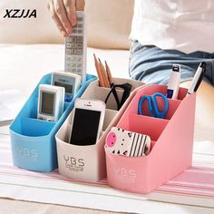 XZJJA Plastic 4 Grid desktop storage box for sundries cosmetics Stationery Multi Tableware Storage Baskets Home Storage Supplies
